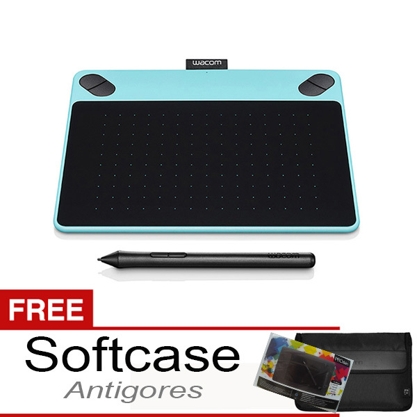 Wacom Intuos Draw CTL-490 Small Mint Blue + Gratis Softcase & Antigores
