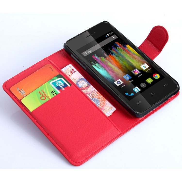 Wallet Flip Leather Case With Card Bag Holder For Wiko Kite Red (Intl)