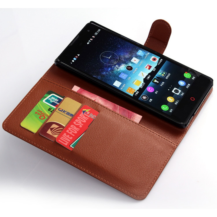 Wallet Flip Leather Case With Card Bag Holder For ZTE NubiaZ7 Max Brown (Intl)