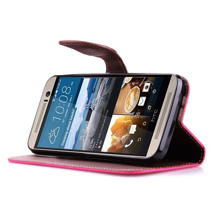 Wallet Flip Leather Case With Card Slot Holder For HTC One M9 Pink (Intl)