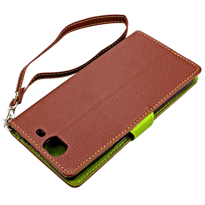 Wallet Flip Leather Case With Card Slot Holder For Wiko Highway 4G (Brown) (Intl)