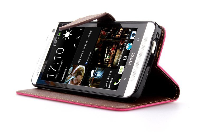 Wallet Flip Leather Cover for HTC One M7 (Pink) (Intl)