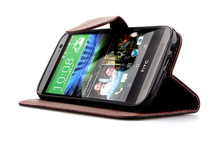 Wallet Flip Leather Cover with Card Slot Holder for HTC One M8 (Black) (Intl)