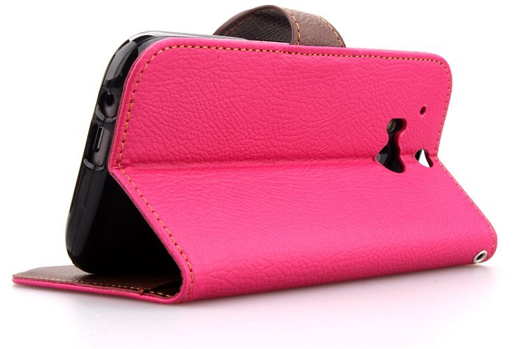 Wallet Flip Leather Cover Wwth Card Slot Holder for HTC One M8 (Pink) (Intl)