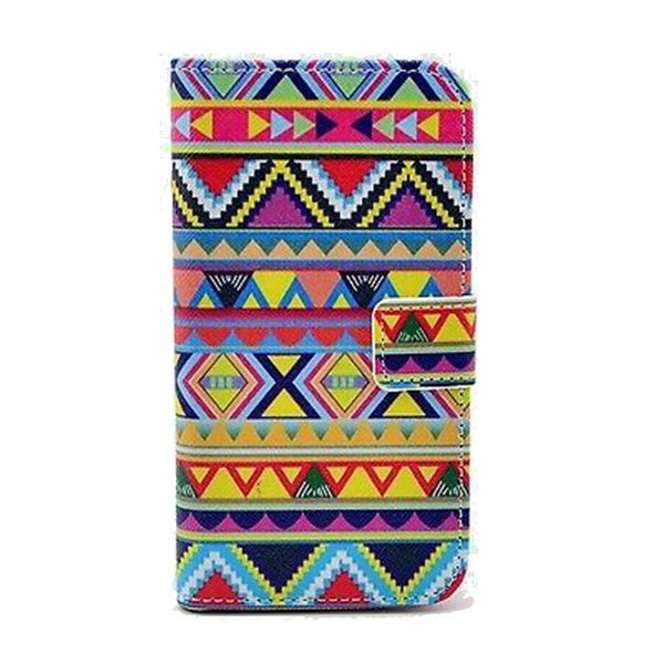 Wallet Leather Case Cover Pattern for Motorola Moto E Colorful Tribe Designer Multicolor