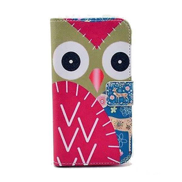 Wallet Leather Case Cover Pattern for Motorola Moto x Red/Brown Owl & Pink Deer Multicolor