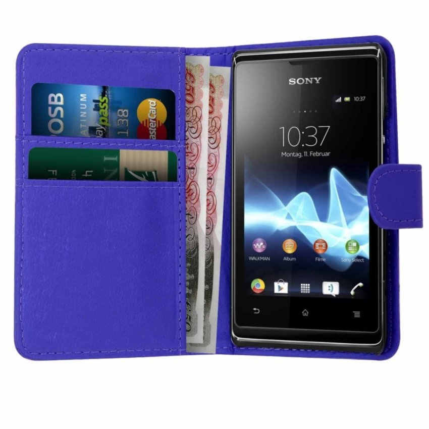 Wallet Leather Flip Case with Screen Protector and Stylus for Sony Xperia E1 Blue