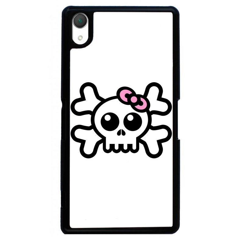 Wear Bowknot Skeleton Painting Cover For Sony Xperia Z2 (Black)