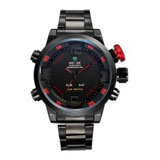 WEIDE 2309 Stainless Steel LED Quartz Men's Watch With LED Time Display And Black Steel Band (Red) - Intl