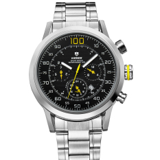 WEIDE WH-3311 Men's Fashion Stainless Steel Band 3ATM Waterproof Quartz Watch with Calendar - Black + Yellow + Silver (Intl)
