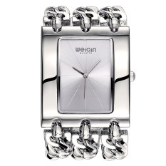 WEIQIN Brand Women Silver Square Shaped Dial Bangle Watches 278103 (Silver) - Intl
