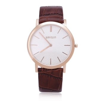 WEIQIN W2242 Men Quartz Watch Artificial Sapphire Glass Mirror Ultra-thin Dial Leather Band Wristwatch