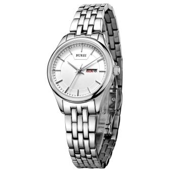 Weishi BUREI Auto Date Women Watch Genuine Leather Strap Quartz Casual Wristwatch 30M Waterproof Fashion Lady Dress Watches Reloj Mujer (Silver White Steel)