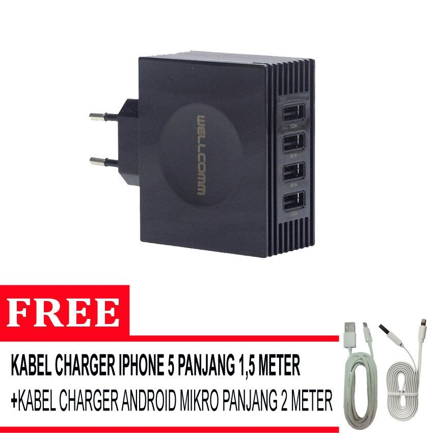 Wellcomm 4 Port USB Charger 4,2A + Gratis Kable Mikro 2 Meter + Kabel Iphone 5/5s - Hitam