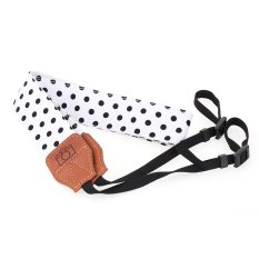 White And Black Universal Adjustable DSLR Camera Shoulder Neck Strap Belt Soft Cotton Polka Dots With Harness Adapter For Nikon Canon Panasonic- Intl
