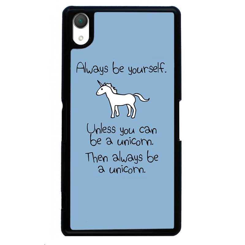 White Unicorn Painting Phone Case for SONY Xperia Z3 (Black)
