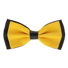 Whyus Classic Solid Color Men Butterfly Cravat Bowtie Neckwear Male Adjustable Bow Tie (Yellow) - INTL