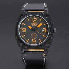 WINNER Casual Automatic Mechanical Sport Style Men Black Leather Strap Watch WW097