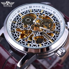 Winner Classic Chinese Style Pattern Skeleton Design Brown Leather Strap Mechanical Automatic Watch - Intl
