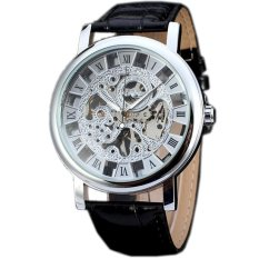 WINNER Classic Mechanical Hand Wind Skeleton Leather Mens Wrist Watch Silver WW275