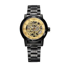 WINNER Excellent Hand-winding Mechanical Watch Luxury Hand Wind Up Hollowed-out Transparent Dial Alloy Strap Chic Brand Unisex Wristwatch - Intl