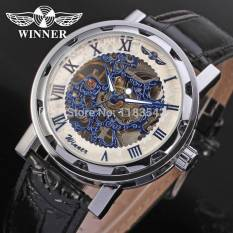 Winner Men's Watch Mechanical Hand-wind Fashion Leather Strap Crystal Analog Casual Wristwatch Color White - Intl