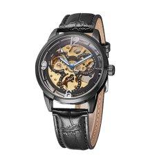 WINNER PU Watch Strap Hollowed-out Self-winding Mechanical Wristwatch Transparent Dial Automatic Skeleton Watch - Intl