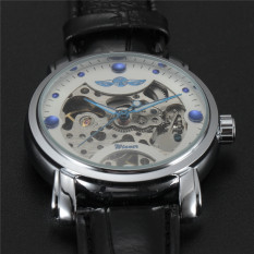 Winner Skeleton Designer Blue Clock Men Leather Strap Mens Top Brand Luxury Automatic Watch Montre Homme