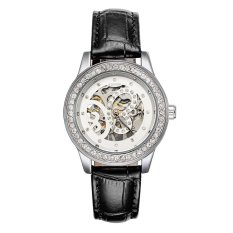 WINNER Skeleton Hand-Winding Women Mechanical Wristwatch See-Through Butterfly Pattern Leather Strap Rhinestone Women Watch