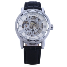 Winner W001 Men Hollow Mechanical Watch With Leather Band Roman Scale (Silver)
