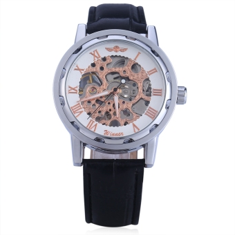 Winner W001 Men Hollow Mechanical Watch With Leather Band Roman Scale (White)