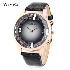 WOMAGE Female Quartz Watch Stereo Mirror Crystal Butterfly Decoration Water Resistance Wristwatch (BLACK)