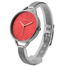 WoMaGe Thin Wire Reticularis Women's Silver Stainless Steel Strap Watch 994003 (Red)