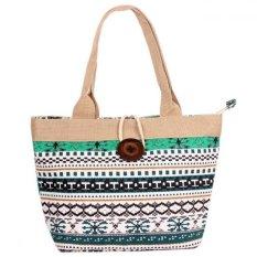 Woman Fashion Canvas Button Handbag Green Cube (YKFBB-35) - Intl