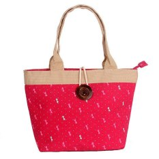 Woman Fashion Canvas Button Handbag Red Bow (YKFBB-41) - Intl
