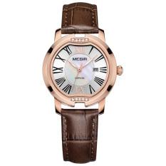 Womdee MEGIR Brand New Luxury Calender Women Watches Dress Leather Sapphire Quartz Wirstwatch 3ATM Trendy High Quality Shell Clock Hour (Black) (Intl) (Intl)