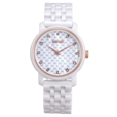 Womdee WEIQIN Fashion White Ceramic Band Rhinestone Watches Women Quartz Wristwatch Clock Ladies Watch Reloje S Feminino (Ceramic Rose Gold)