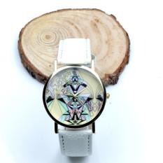 Women Aztec Tribal Pattern PU Leather Quartz Wrist Watches Watch White - Intl