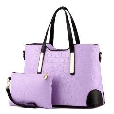 Women Bag Top-Handle Bags Fashion Women Messenger Bags Handbag Set PU Leather Bag Purple Set - Intl