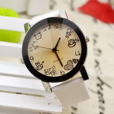 Women Girls Fuax Leather Strap Round Dial Quartz Wrist Watch White