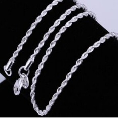 Women Men Fashion Exquisite 925 Sterling Silver Twisted Rope Link Chain Lobster Clasp Necklace Jewelry (INTL)