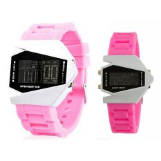 Women Men's Digital Watch Sports LED Stealth Aircraft Silicone Strap LED Electronic Watches Silicone Sports Watch Combat Aircraft Watches Pink (Intl)
