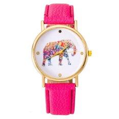 Women National Wind Elephant Casual Leather Strap Quartz Wrist Watch Hot Pink
