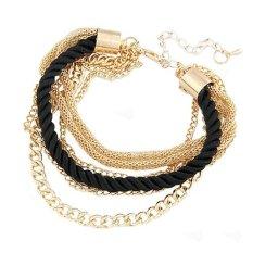Womens Elegant Gold Chain Braided Rope Multilayer Bracelet Handmade Chain? Black (Intl)