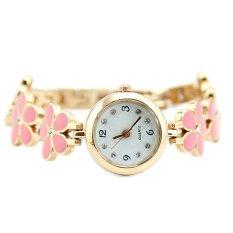 Womens Girls Chic Fashion Daisies Flower Rose Golden Bracelet Wrist Watch Pink