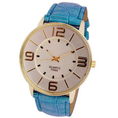 Womens Ladies Fashion Numerals Gold Dial Leather Analog Quartz Watch Blue