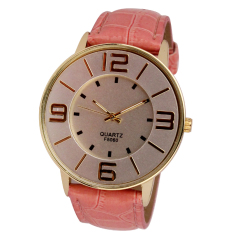 Womens Ladies Fashion Numerals Gold Dial Leather Analog Quartz Watch Pink