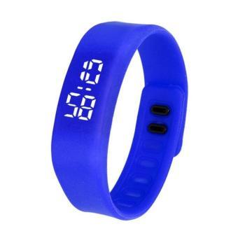 Womens Mens Rubber LED Watch Date Sports Bracelet Digital Wrist Watch Blue Free Shipping