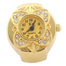 Women's Quartz Ring Finger Watch Gold Rhinestone Flower Plated Bezel Alloy Band