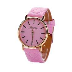 Womens Watches Grid Unisex Leather Quartz Dress WristWatch Pink -